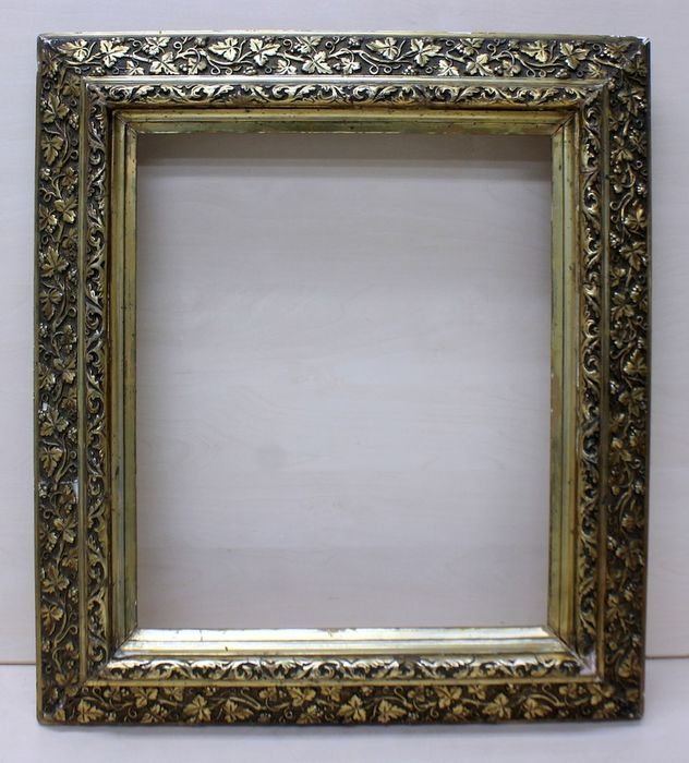 Gold gold gilded painting frame with leaf motifs (wingerd) - Lime wood