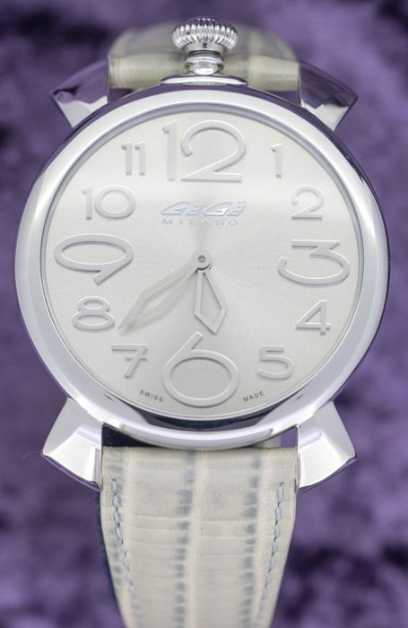 GaGà Milano - Manuale Thin 46MM Silver Dial Italian Hand Made Leather Strap Swiss Made - 5090.8 - Unisex - Brand New