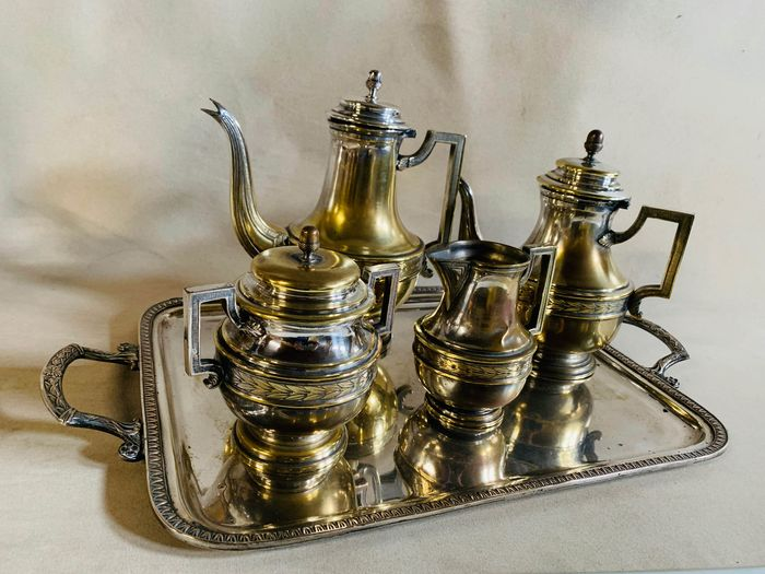 Coffee set, Tea set, With Tray - Silverplate