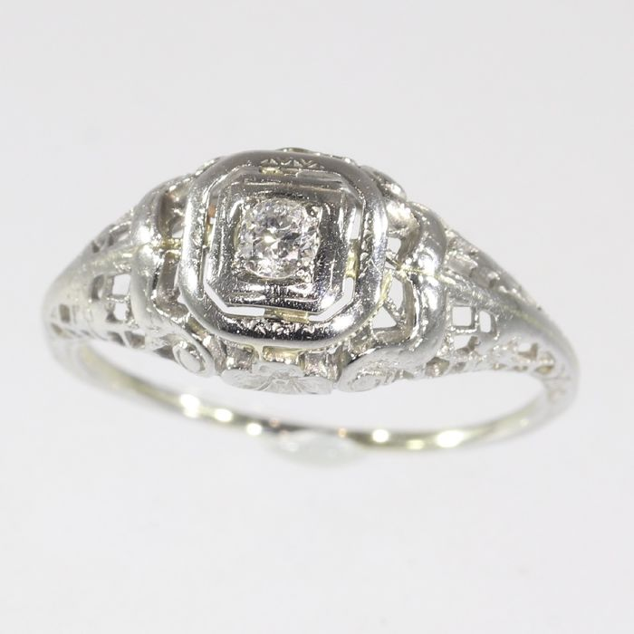 Étonnant 18 kt. White gold - Ring, Engagement, Vintage 1920's - Catawiki CR-09
