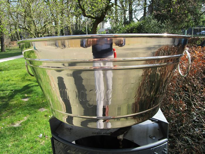Large silver plated champagne ice-bucket, fits 12 bottles easily