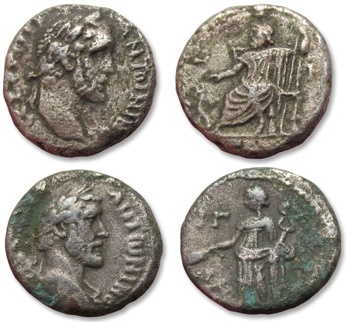 Roman Empire (Provincial). Antoninus Pius (AD 138-161). Group of 2x Billon Tetradrachms,  Egypt, Alexandria mint AD 138-161