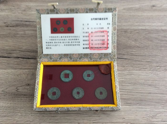 China - Collection of 5 historic cash coins 118 BC-AD 1796