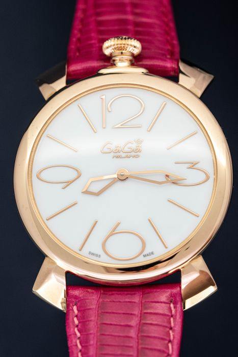GaGà Milano - Manuale Thin 46MM White Dial Pink Italian Hand Made Leather strap Swiss Made - 5091.01FX - Unisex - Brand New