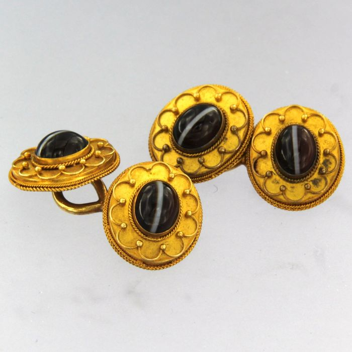 14 kt. Yellow gold - Cufflinks cats eye
