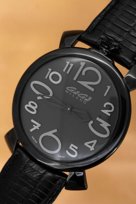 GaGà Milano - Manuale Thin 46MM Black Dial Italian Hand Made Leather strap Swiss Made - 5092.5 - Unisex - Brand New