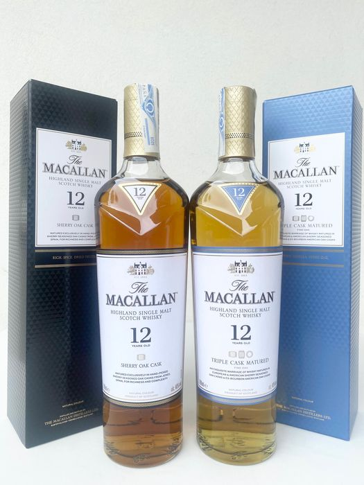 Macallan 12 years old Sherry Oak & 12 years old Triple Cask Matured - Original bottling - 700ml - 2 bouteilles