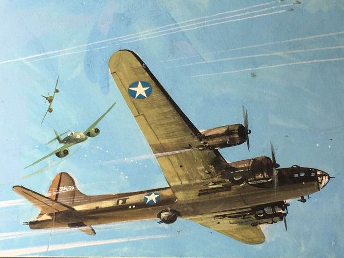 """F. Tacconi - original artwork """"Flying Fortress- Dogfight - Rockets of Terror"""" - Loose page - (1963)"""