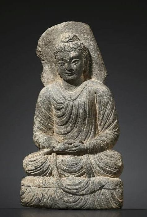 Sculpture Schist A Gandhara Statue Of Buddha Catawiki