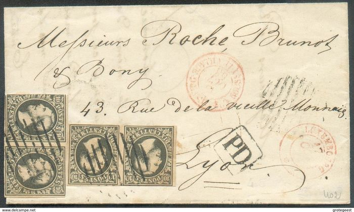 Luxembourg 1853/1853 - No. 1, 10 centimes black greenish, 2 pairs (1 very nice margin, the second has 1 touched up), - Prifix 1b