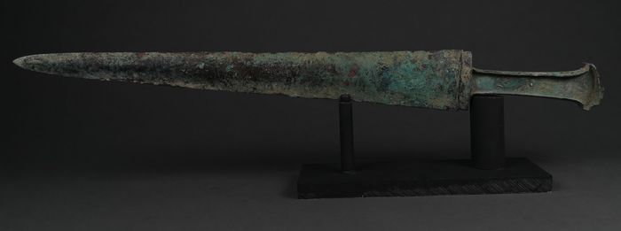 Ancient Greek Archaic Period Bronze Sword with Handle on Stand