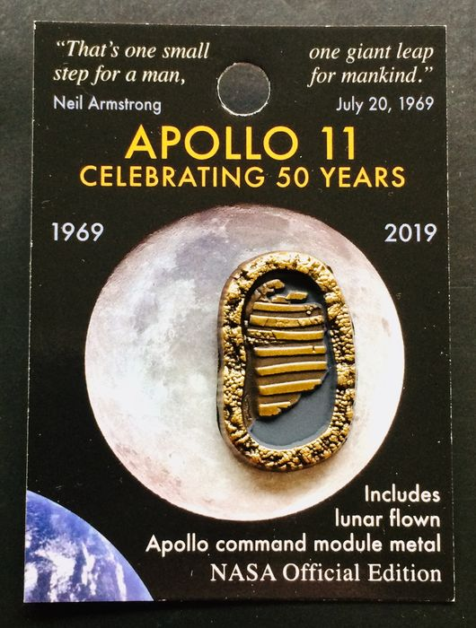 Official First Footprints NASA Lapel Pin - With Flown Metal That Went to the Moon