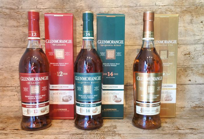 Glenmorangie 12 Sherry Cask Finish - 14 Port Cask Finish - Suternes Cask Finish - 70cl - 3 bottles