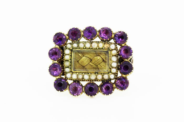 15K Yellow gold - Antique mourning brooch with hair verso Amethyst - Pearls
