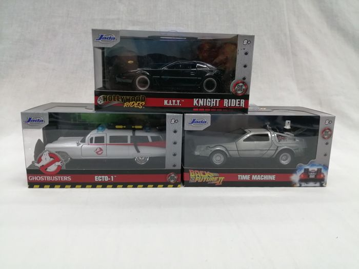 Knight Rider & Back to the Future & Ghostbusters - Jada - 1:32 - Vehicle Set of 3 model cars - Back to the future Time Machine & Cadillac Ecto-1 & K.I.T.T.