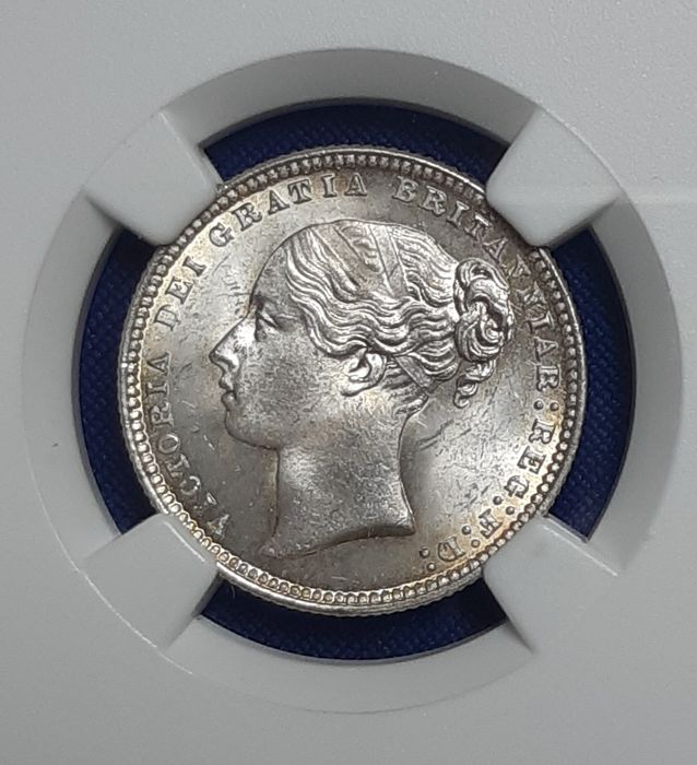 Regatul Unit - Shilling 1874 Victoria in NGC Slab - Argint