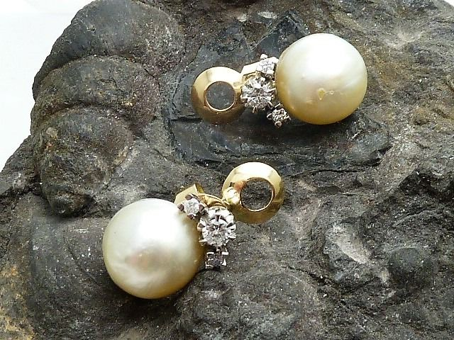 18 kt. Gold - Earrings Pearl - Diamonds