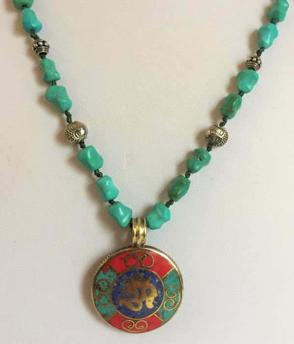Antique  beads from Turquoise   and   amulet of Buddhism - Silver 925