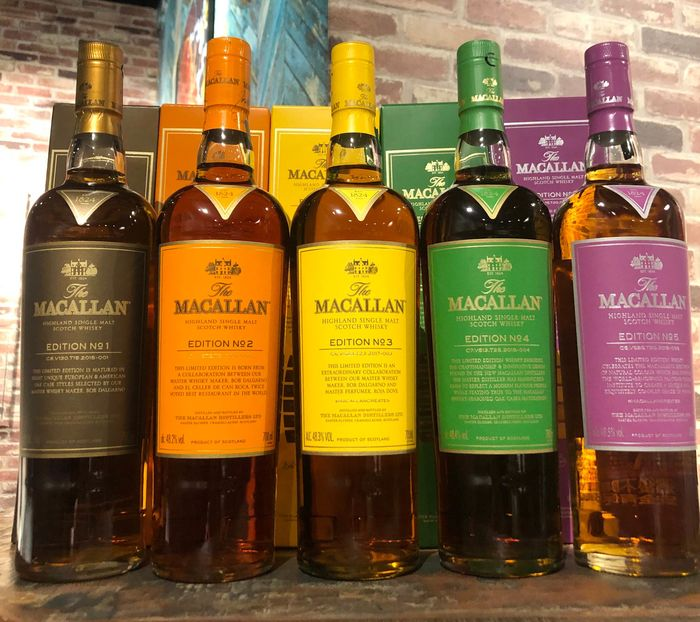 Macallan Edition Series (No. 1-5) - 700ml - 5 bottiglie