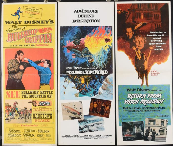 Walt Disney - Lot of 3  - The Adventures of Bullwhip Griffin (1967) / The Island at the Top of the World (1974) /  - Return from Witch Mountain (1978) - Poster, Original US Cinema Release Inserts