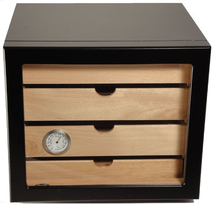 ANGELO - Humidor cabinet for 60 cigars 4 drawers black