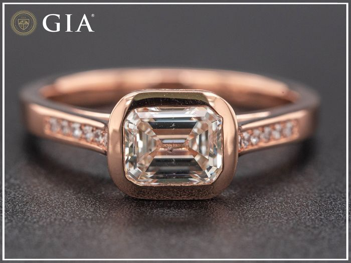 18 kt. Pink gold, 3.76g - Ring - 1.13 ct Diamond