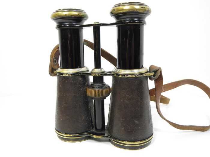 GLÄSER Antique expedition binoculars with built-in compass. Late 19th - early 20th century.