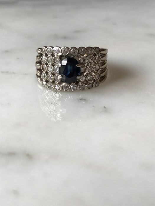 18 kt. Gold, White gold - Ring Sapphire