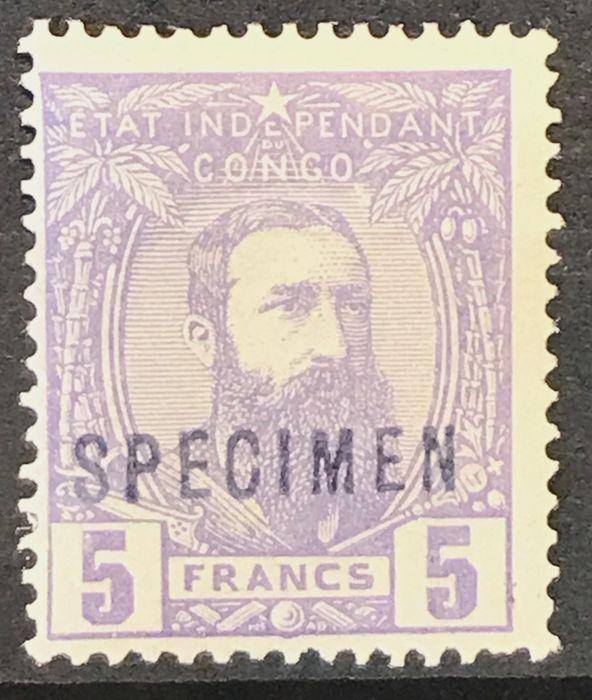 Belgian Congo 1887 - Independent State Congo 1887 - Leopold II - 5 Franc violet - With 'specimen', certificate by VDM - OBP / COB 11