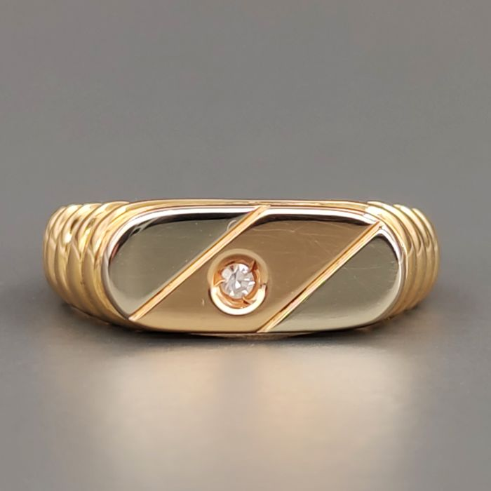 18 kt. Pink gold, White gold, Yellow gold - Ring - 0.02 ct Diamond