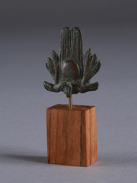 Ancient Egyptian Bronze Crown with Uraeus and Feathers - (1)
