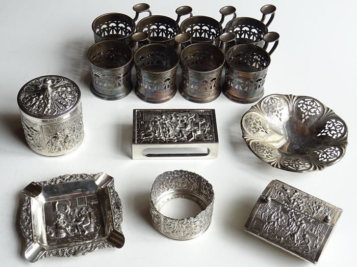 Selection of different decorative table items - approx. 1780 grams (14) - Silverplate