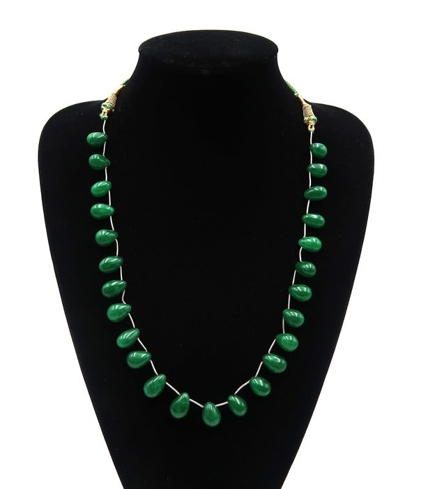 Adjustable droplet necklace of polished emerald pearls - 1 row - 59 g