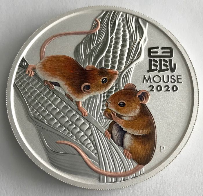 Australie. 2 Dollars 2020 - Year of the Mouse - Color - 2 oz