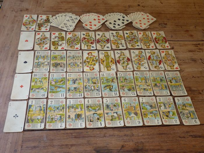 P. Grimaud - Antique French, complete 78 playing cards, tarot cards,circa 1898-1900. - France