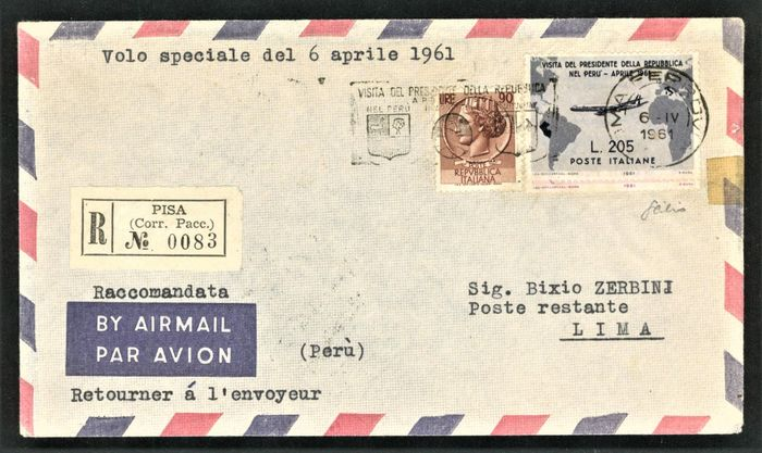 Italy Republic 1961 - 205 lire Gronchi rosa covered with grey, cancelled with a special cancellation on envelope to Lima - Sassone NN. 920, 921, 777