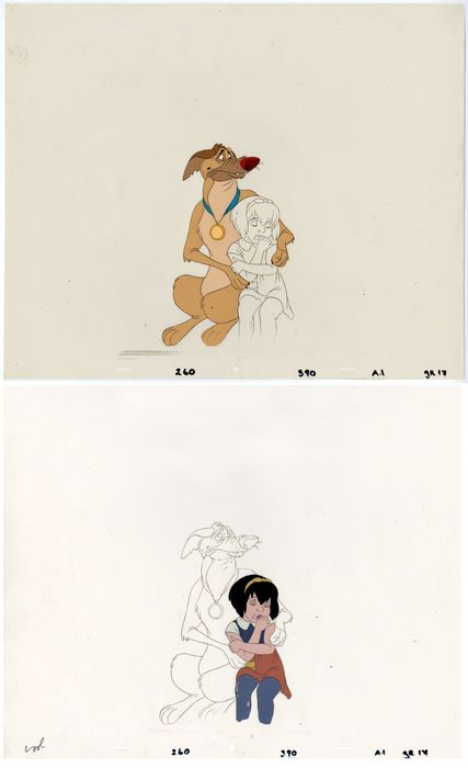 All dogs - 2 Original Production Cels - All dogs go to heaven - Charlie et Anne-Marie - Oorspronkelijk celluloid - (1989)