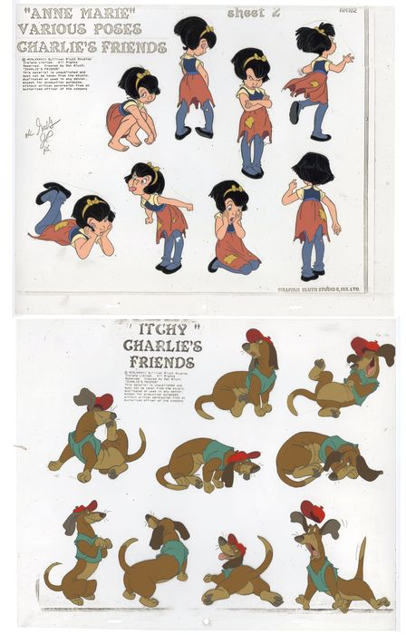 All dogs - 2 Original Model-sheet color model Cels - All dogs go to heaven - Anne-Marie - Copia unica - (1989)