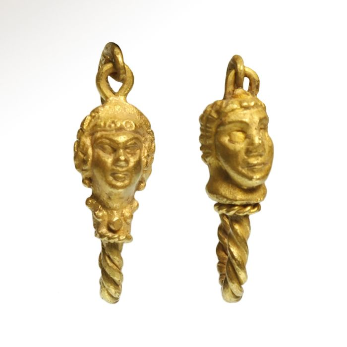 Ancient Greek Gold Gold Earrings, Female and Male, Janus Heads