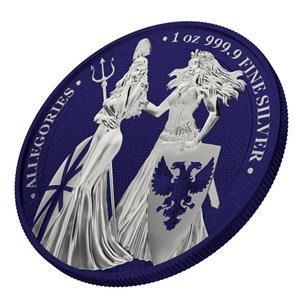 Germany - 5 Mark 2019 Germania & Britannia-The Allegories i-Color Edition - Midnight Blue   1 Oz - Silver
