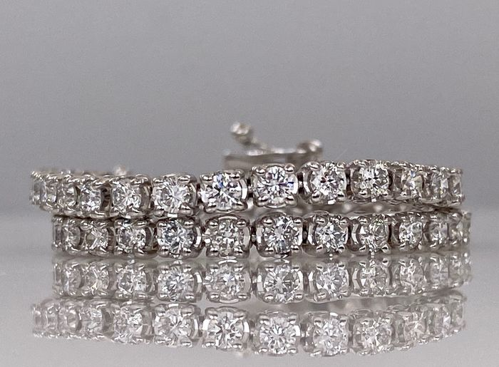 18 kt. White gold tennis bracelet - with 3.30ct diamonds, Without reserve price!
