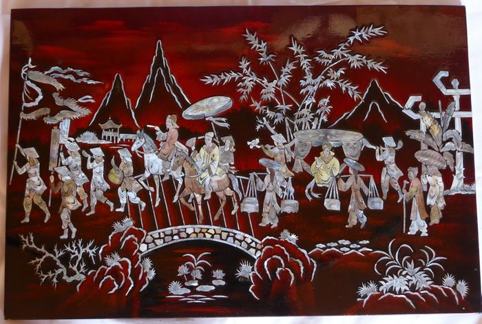 Lacquered Wood and Mother of Pearl Painting - Mother of pearl, Wood - Scene of life - Vietnam - 21st century