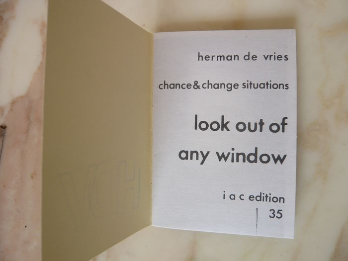 Herman de Vries - Look out of any window [One of 80 copies] - 1975