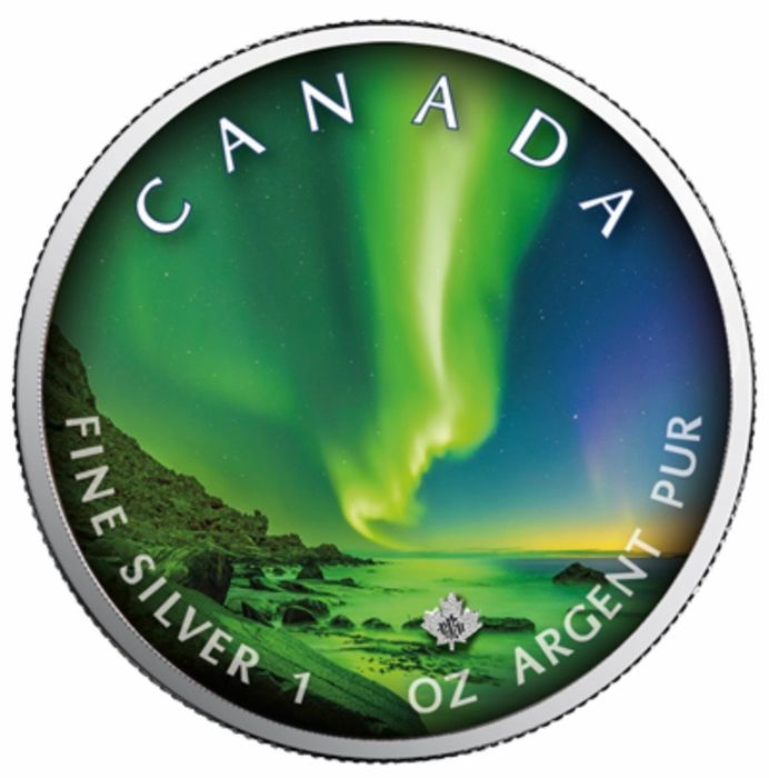 Canada - 5 Dollars 2020 - Maple Leaf Polar Lights  - Whitehorse Town - 1 oz - Silver