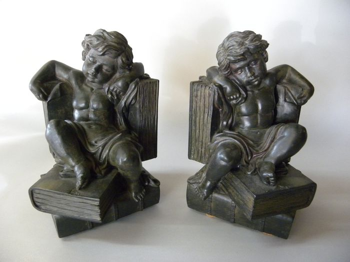 Bookends Putti seated angel soapstone chair (2) - Art Deco - Soapstone