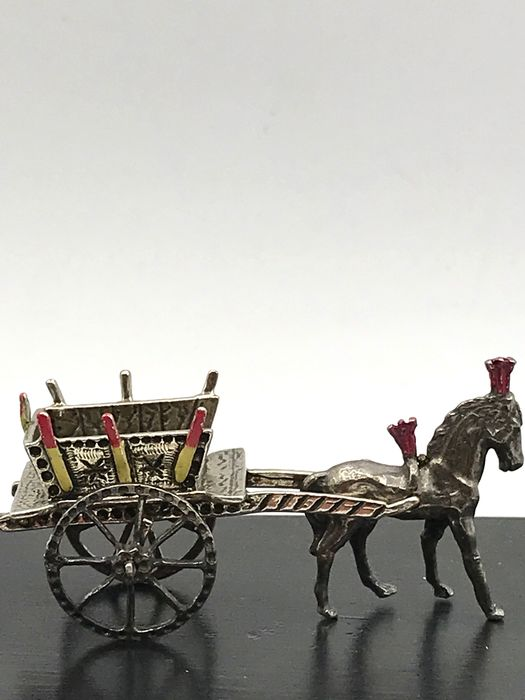 Handmade silver miniature Horse and carriage with enamel. - Silver