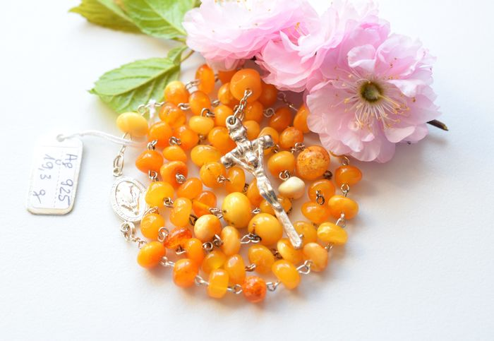 Rosary - .925 silver, Amber