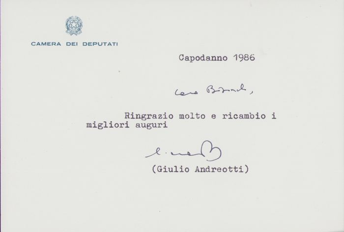 Giulio Andreotti - Autograph; Signed wishes card with Photo - 1986