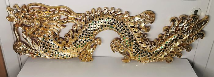 Giant Wooden gilded dragon (1) - Wood - Thailand - Second half 20th century