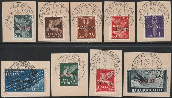 Republikanische Nationalgarde 1944 - Verona issue airmail, inverted overprint, complete set, very rare and certified - Sassone NN.117a/125a